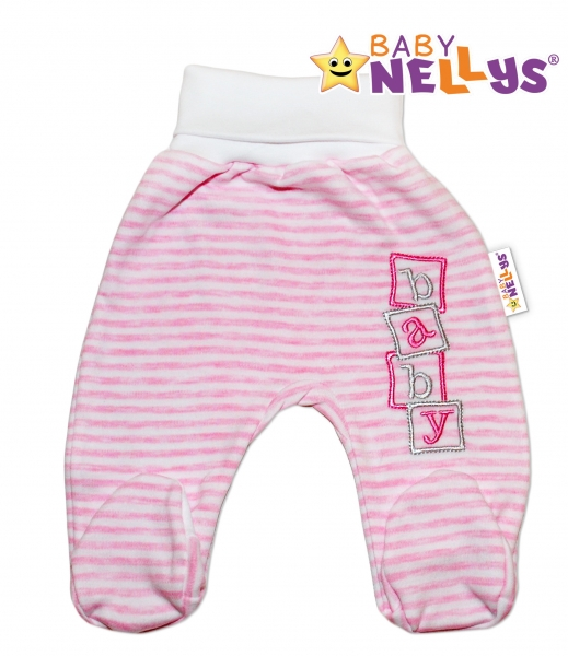 Polodupačky Baby Nellys ® Baby Bear - ružový prúžok-80 (9-12m)