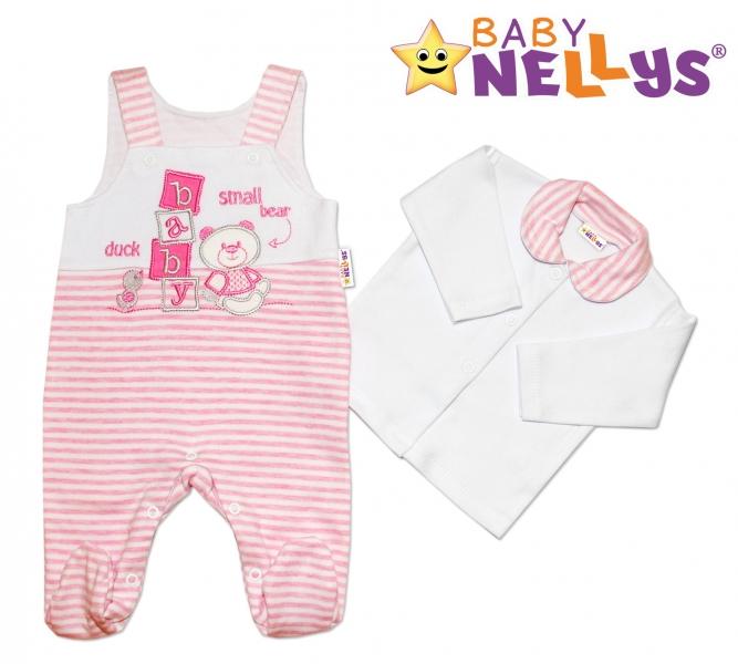 Dupačky a košieľka Baby Nellys ® Baby Bear - ružový prúžok