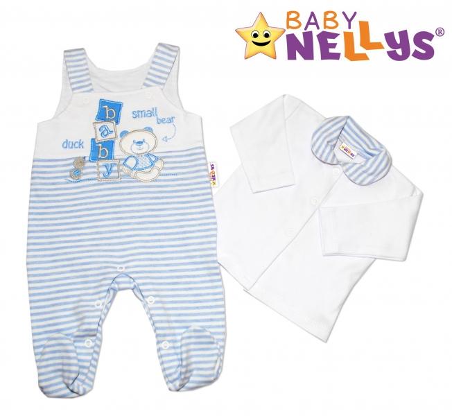 Dupačky a košieľka Baby Nellys ® Baby Bear - sv. modrý prúžok