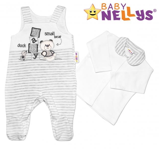 Dupačky a košieľka Baby Nellys ® Baby Bear - sv. šedý melírkovaný prúžok