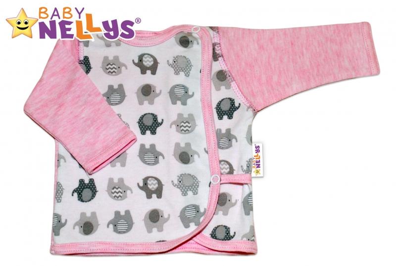 Novorodenecká košieľka sloník Baby Nellys ® - ružový melírek