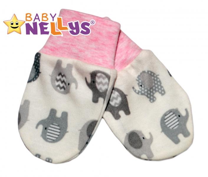 Dojčenské rukavičky sloník Baby Nellys ® - ružový melírek