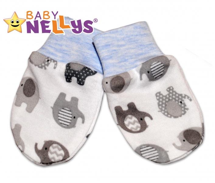 Dojčenské rukavičky sloník Baby Nellys ® - modrý melírek