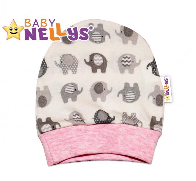 Novorodenecká čiapočka sloník Baby Nellys ® - ružový melírek