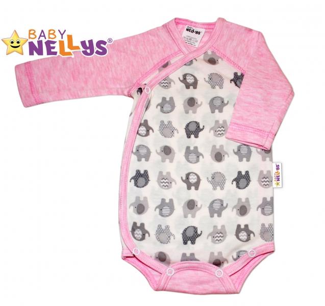 Body dl. rukáv zapínanie na boku sloník Baby Nellys ® - ružový melírek