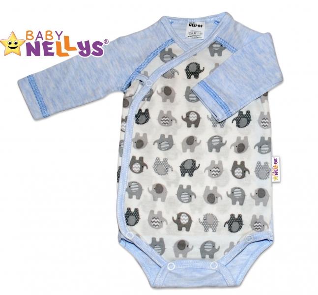 Body dl. rukáv zapínanie na boku sloník Baby Nellys ® - modrý melírek