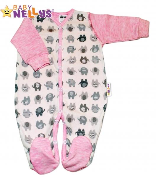 Overal sloník Baby Nellys ® - ružový melírek