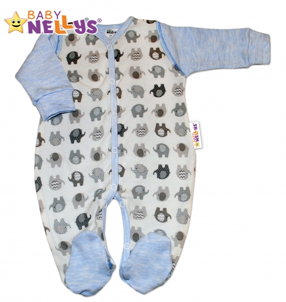 Overal sloník Baby Nellys ® - modrý melírek