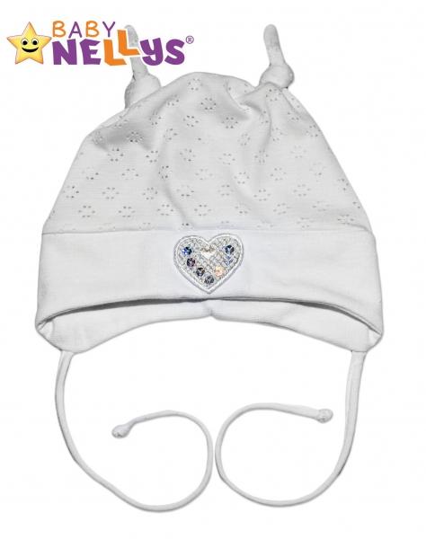 Bavlnená čiapočka Srdíčko Baby Nellys ® - biele