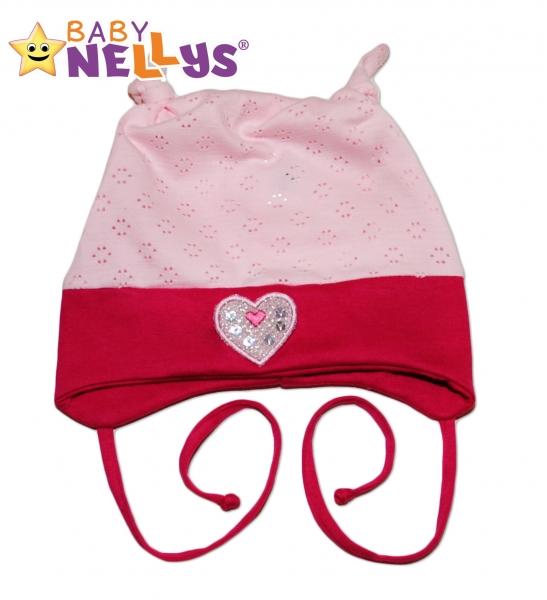 Bavlnená čiapočka Srdiečko Baby Nellys ® - sv.ružová   tm. ružová empty 11dfadadfac