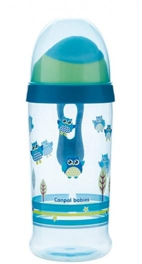 Športová nekvapkajúci fľaša Canpol Babies sovička - modrá