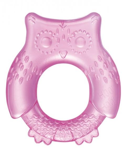 Hryzátko vodné, chladiace Canpol Babies - Malá sova tm. ružová