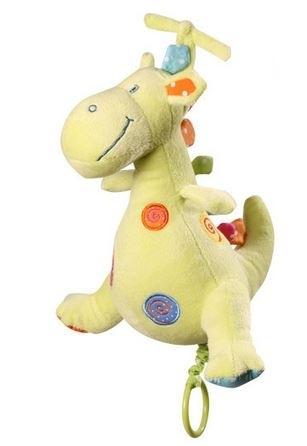 Edukačná plyšová hračka Baby Ono s hracím strojčekom - Dino - zelený
