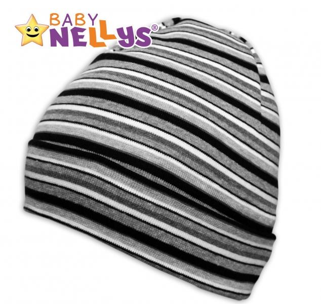 Bavlnená čiapočka Baby Nellys ® - Prúžky bielo, šedej, čiernej, veľ. 42-54 cm