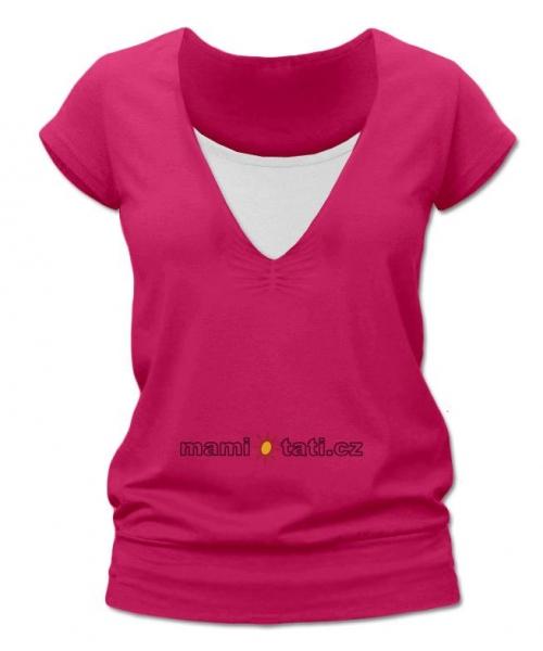 Dojčiace, tehotenské tričko JULIE - sýto ružová