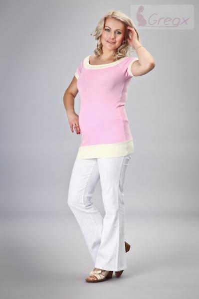 Gregx Elegantné tehotenské nohavice JEANS - biela