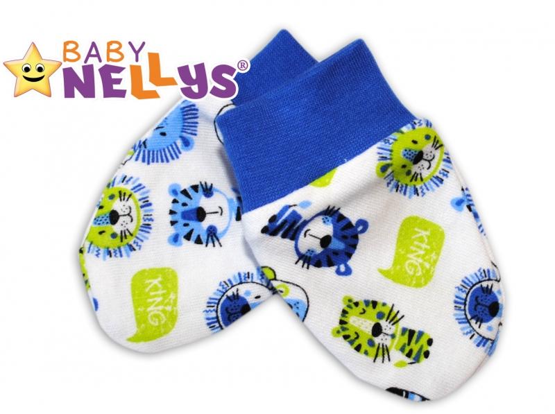 Dojčenské rukavičky Baby Nellys ® - Hello LION - modrý lem