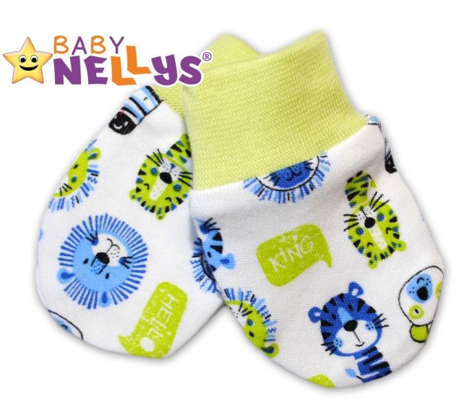 Dojčenské rukavičky Baby Nellys ® - Hello LION - zelený lem
