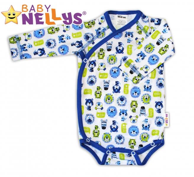 Body dl. rukáv zap. na boku Baby Nellys ®- Hello LION modrý lem
