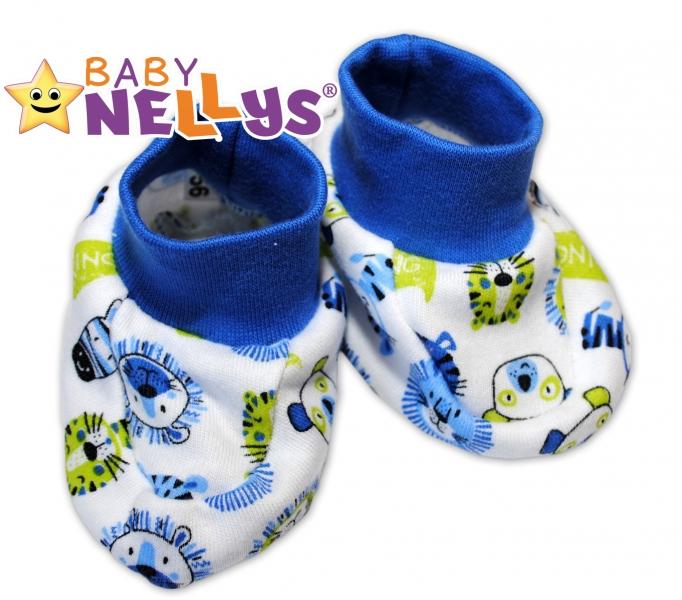 Topánočky / ponožtičky Baby Nellys ® - Hello Lion - modrý lem