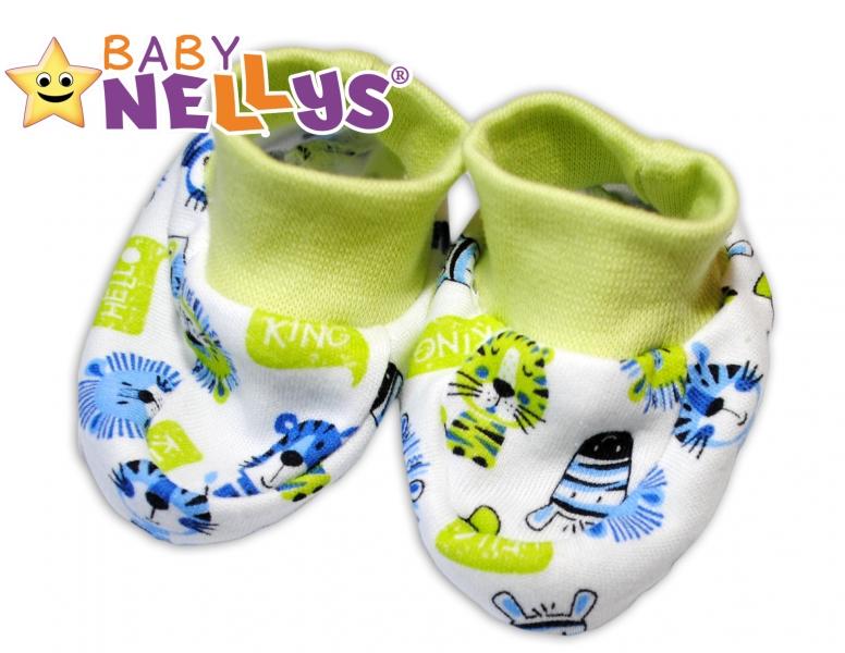 Topánočky / ponožtičky Baby Nellys ® - Hello Lion - zelený lem