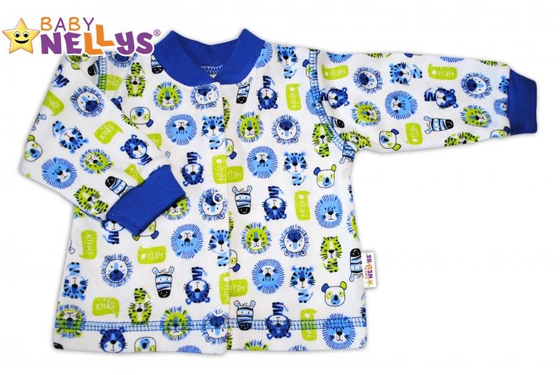 Košieľka so zap. uprostred Baby Nellys ® - Hello LION - modrý lem, 56 (1-2m)