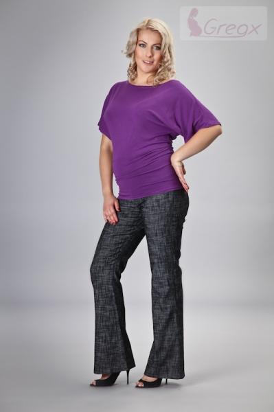Elegantné tehotenské nohavice JEANS - čierny melír