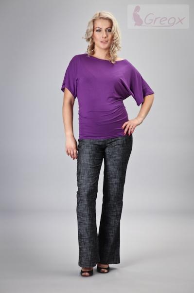 Gregx Elegantné tehotenské nohavice JEANS - čierny melír