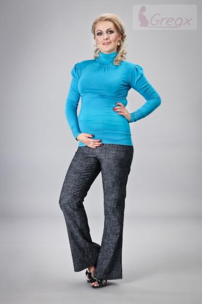 Gregx Elegantné tehotenské nohavice JEANS - granátový melír