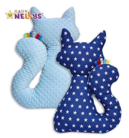 Edukačná hračka MAČKA s Minky Baby Nellys ® - Hviezdičky v tm.modré