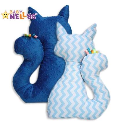 Edukačná hračka MAČKA s Minky Baby Nellys ® - zig zag sv.modrá