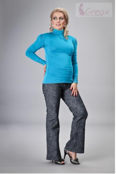 Gregx Elegantné tehotenské nohavice JEANS - granátový melír-XXXL (46)