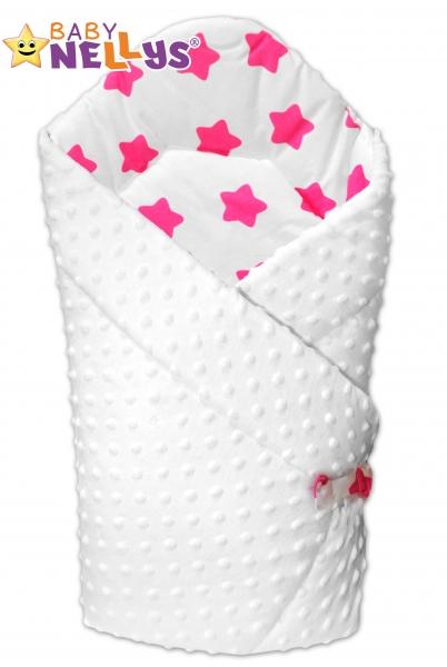 Obojstranná zavinovačka Baby Nellys ® Mink - biela / hviezdičky ružové v bielej