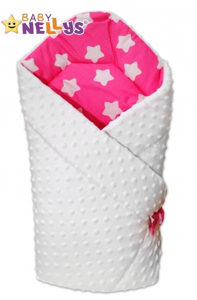 Obojstranná zavinovačka Baby Nellys ® Mink - biela / hviezdičky biele v ružovej