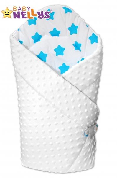 Obojstranná zavinovačka Baby Nellys ® Mink - biela / hviezdičky tyrkys v bielej