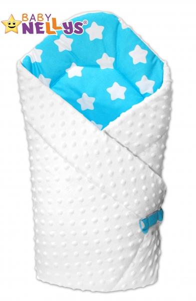 Obojstranná zavinovačka Baby Nellys ® Mink - biela / hviezdičky biele v tyrkysovej