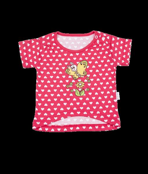 Blúzka / tričko kr. rukáv - motýlek srdíčko