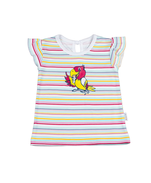 Mamatti Blúzka / tričko kr. rukáv - papagáj-68 (4-6m)