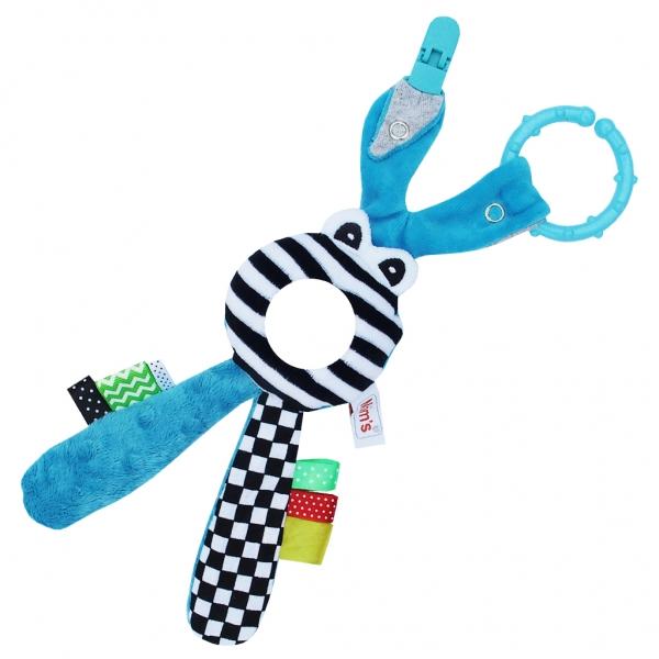 Edukačná hračka s hrkálkou - Zajačik - zrkadielko -modré