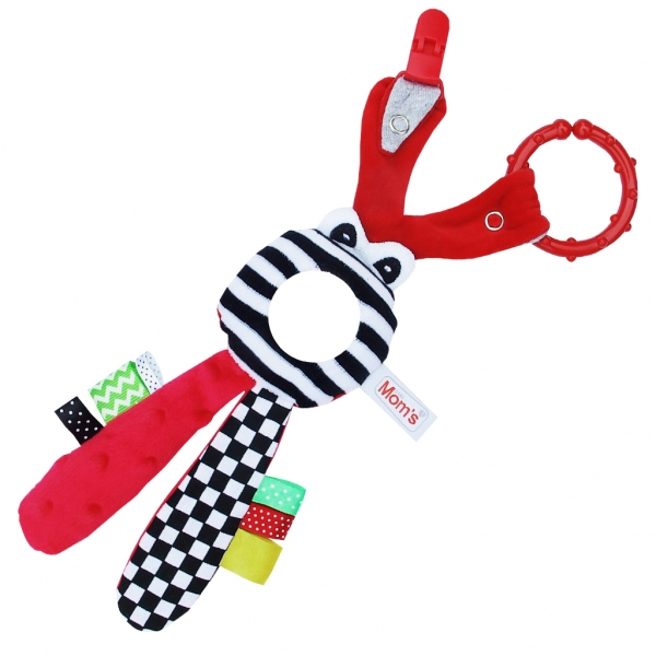 Edukačná hračka s hrkálkou - Zajačik - zrkadielko - červené