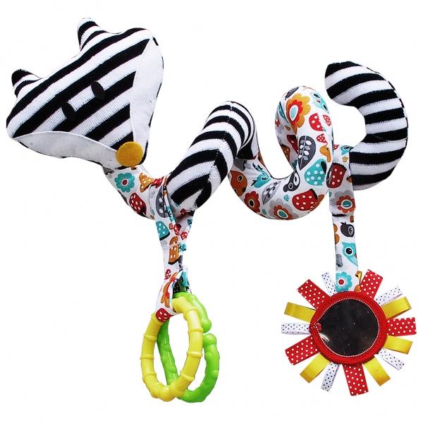 Edukačná hračka Hencz s hrkálkou a zrkadlom - LIŠKA - špirála -bielo-čierna