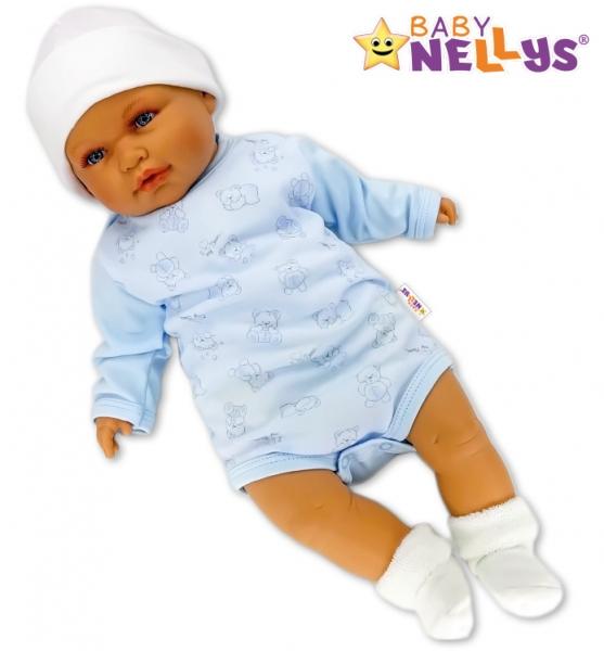 Body dl. rukáv Baby Nellys® Macko Baby - modrý