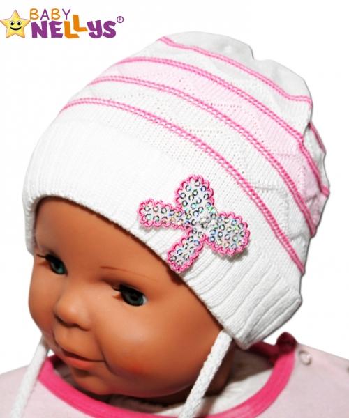 Čiapočka Prúžok Baby Nellys ® na zaväzovanie - biela, veľ. 44-52 cm