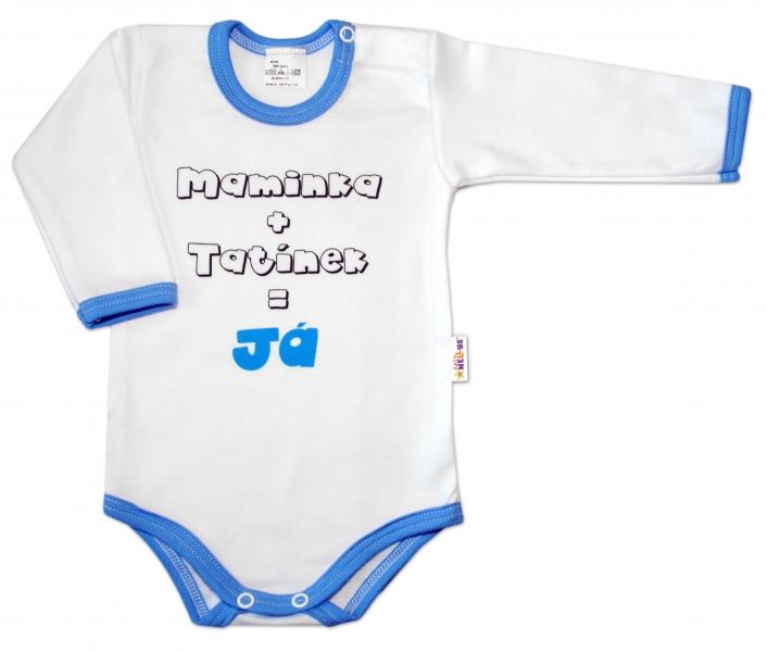 Baby Nellys Bavlněné body vel. 68, Maminka + tatínek = Já - modrý lem