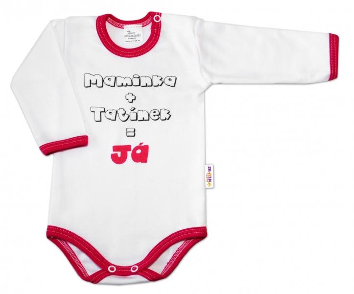 Baby Nellys Bavlněné body vel. 62, Maminka + tatínek = Já - růžový lem
