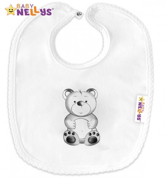 Bavlnený podbradník Baby Nellys® Sweet Teddy Bear - biely