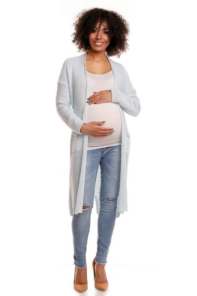 Tehotenský sveter s vreckami Mery - sv. modrý