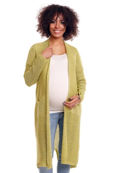 Tehotenský sveter s vreckami Mery - zelenkavý