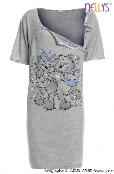 Tehotenská, dojčiace nočná košeľa Mačky - sivá/modrá
