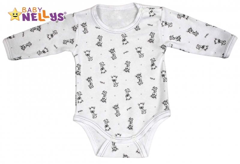 Body dlhý rukáv Baby Nellys® - Giraffe - šedá